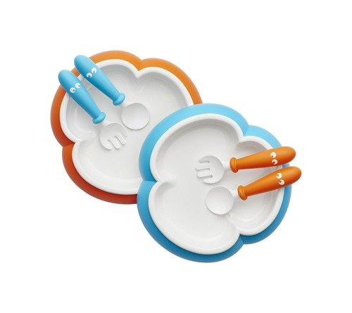 BABYBJORN - Baby Plate and Spoon Orange / Tuquoise