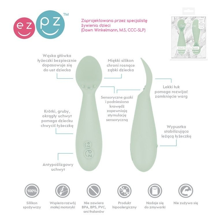EZPZ - Tiny Spoon silicone spoon 2 pcs, pastel green