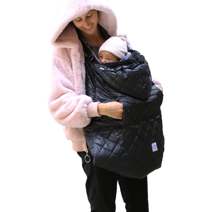 7AM -  Sleeping bag for ergonomic baby carriers and strollers K-Poncho Black Plush
