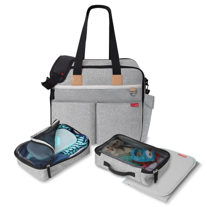 Duo Signature Grey Melange Skip Hop Weekender Travel Diaper Bag Tote with Matching Changing Pad