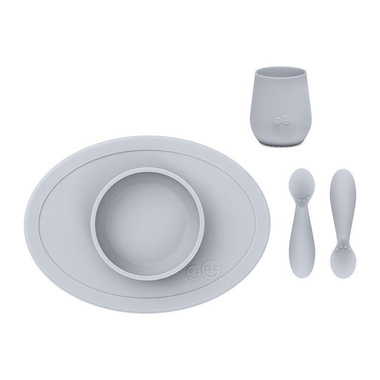 EZPZ - First Foods Set silicone dish, pastel grey