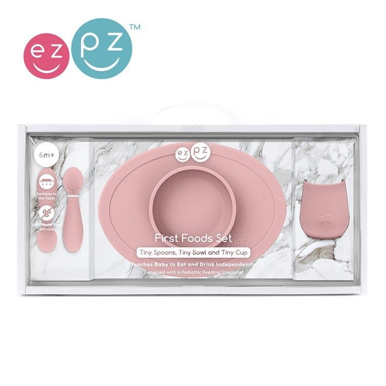 EZPZ - First Foods Set silicone dish, pastel pink