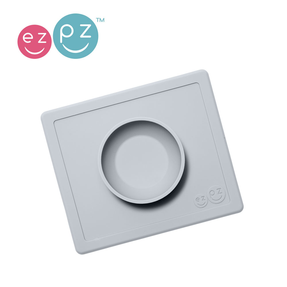 EZPZ - Silicone Bowl 2in1 Happy Bowl,  grey