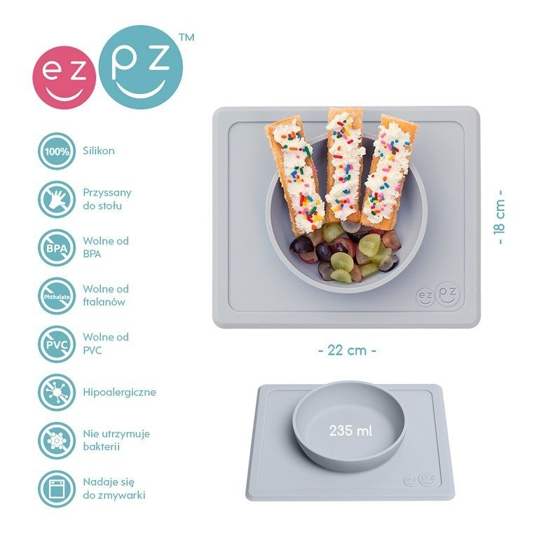 EZPZ - Silicone bowl with 2in1 placemat Mini Bowl pastel gray