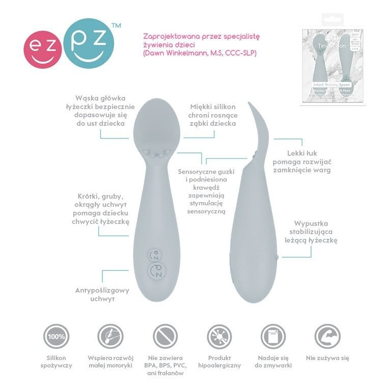 EZPZ - Tiny Spoon silicone spoon 2 pcs, pastel grey