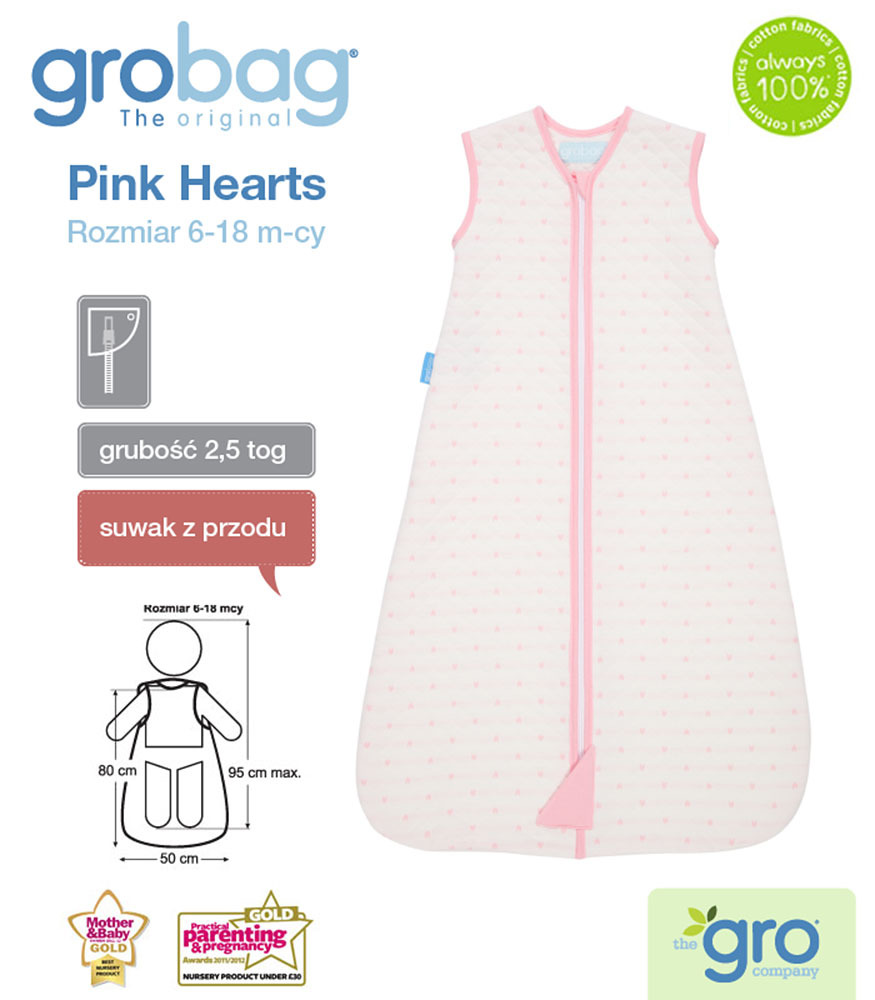 Gro Company - Pink Hearts 2.5 Tog Jacquard Grobag, 6-18 months