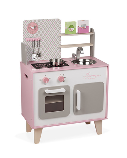 Janod - Large wooden kitchen with accessories Macaron
