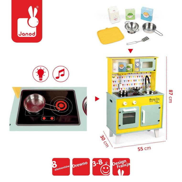 Janod - Wooden kitchen with sound and with 7 accessories Happy Day