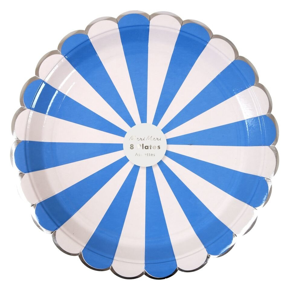 Meri Meri – Blue Striped Large Plate