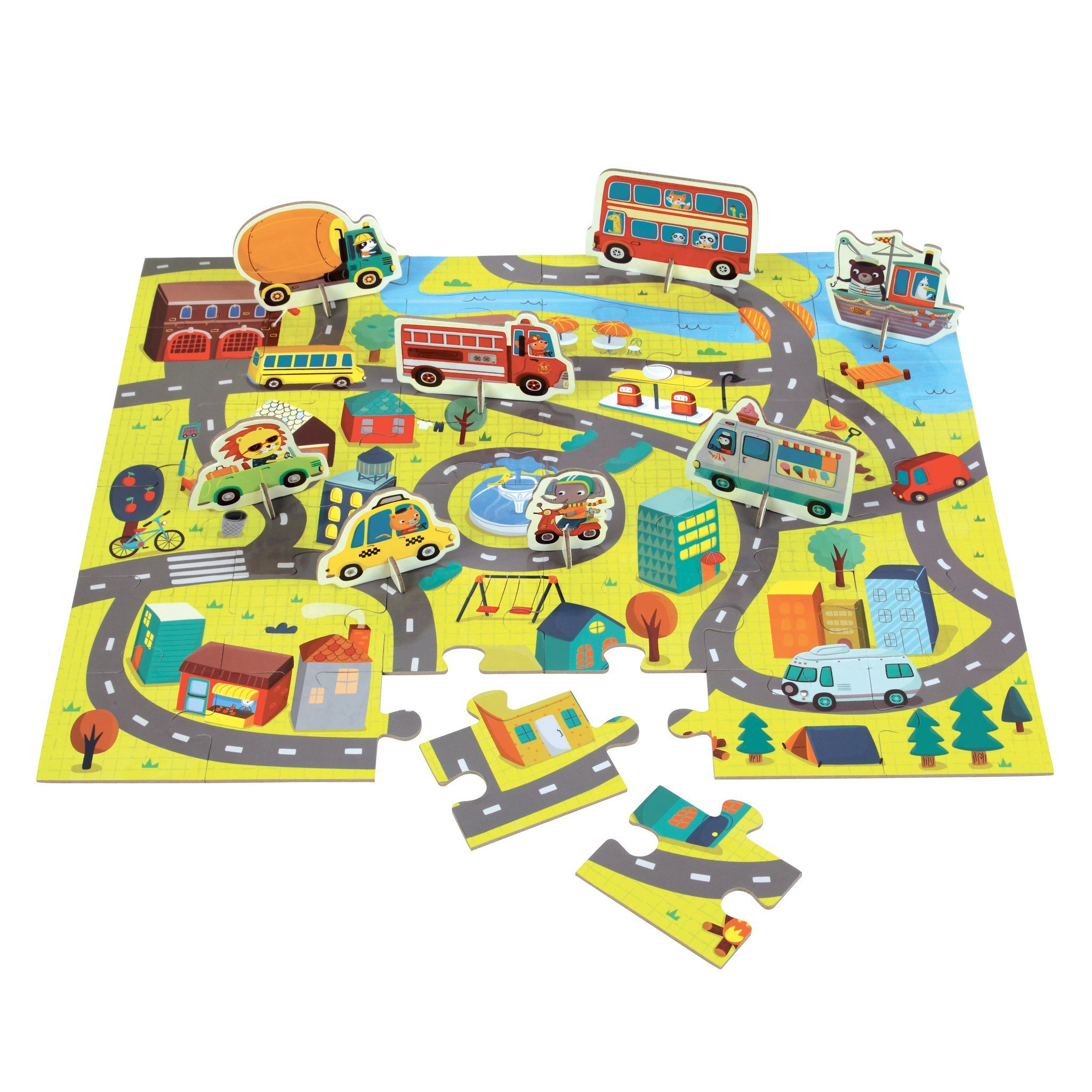 Mudpuppy - Around the Town Puzzle Play Set