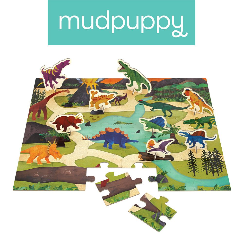 Mudpuppy - Dinosaur Park Puzzle Play Set