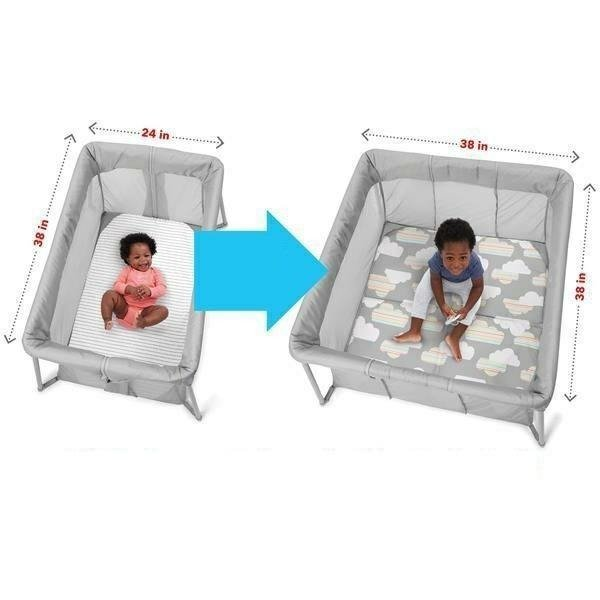 Play to Night Expanding Travel Crib- Grey/Clouds
