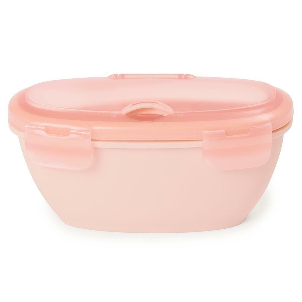 SKIP HOP - Set container + spoon Easy-Serve Gray / Soft Coral