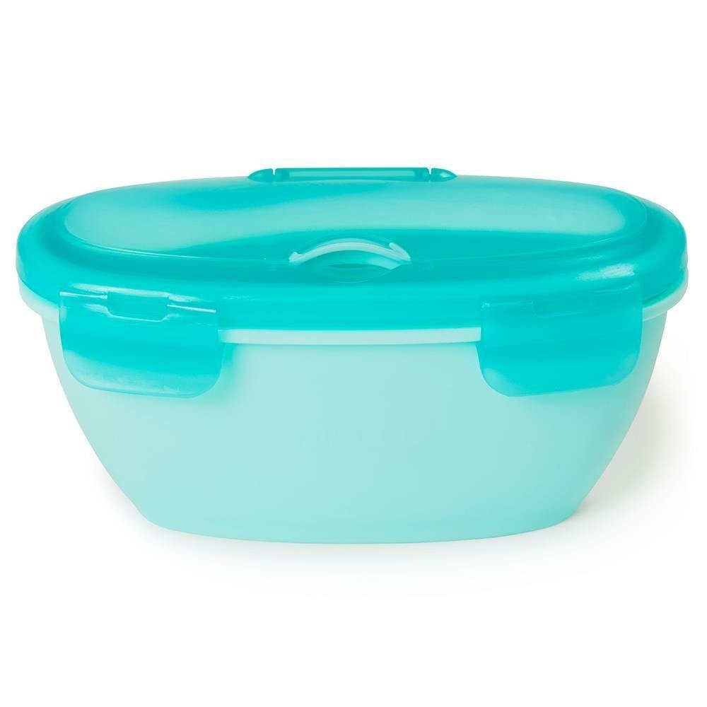 SKIP HOP - Set container + spoon Easy-Serve Grey/Soft Teal