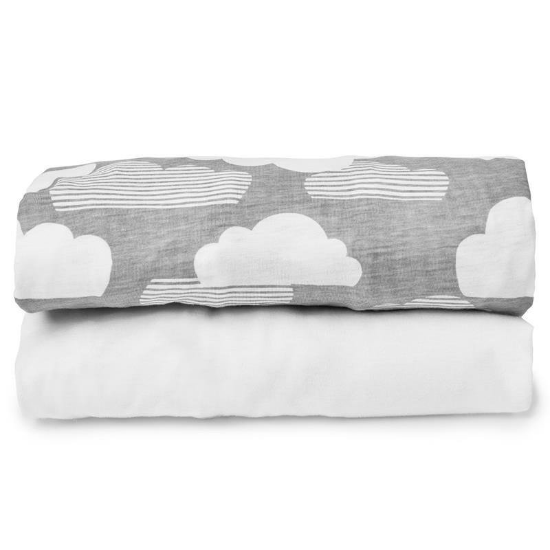 Travel Crib Sheet Set- Clouds/White