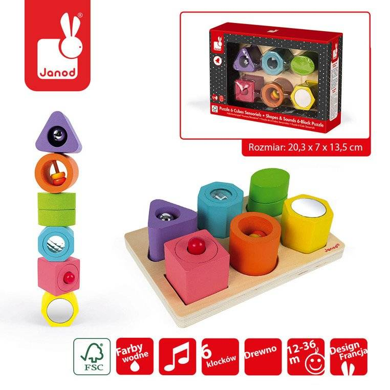 Wooden sensoric puzzle set - shapes and sounds